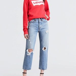 Levi's wedgie fit ripped straight jeans
